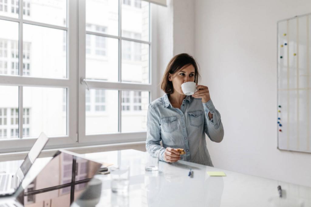 Een kop koffie op het werk
